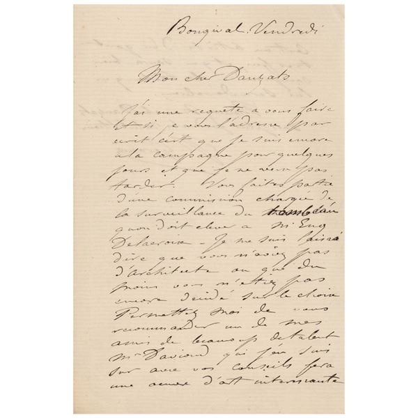 Jean-Leon Gerome Autograph Letter Signed