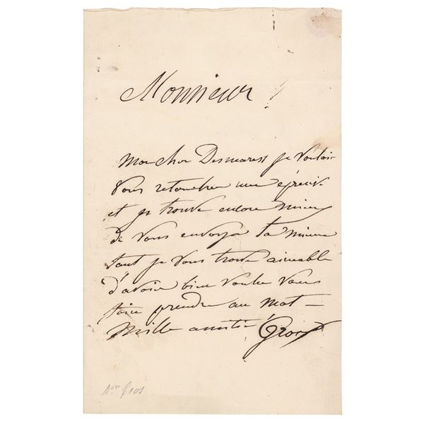 Antoine-Jean Gros Autograph Letter Signed and Signed Ticket