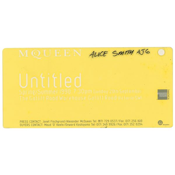 Alexander McQueen: 'Untitled' Ticket