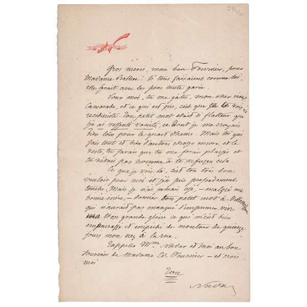 Felix Nadar Autograph Letter Signed