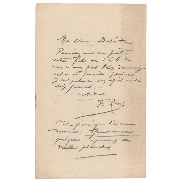Felicien Rops Autograph Letter Signed