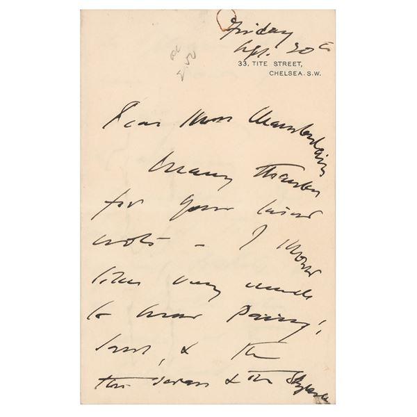 John Singer Sargent Autograph Letter Signed
