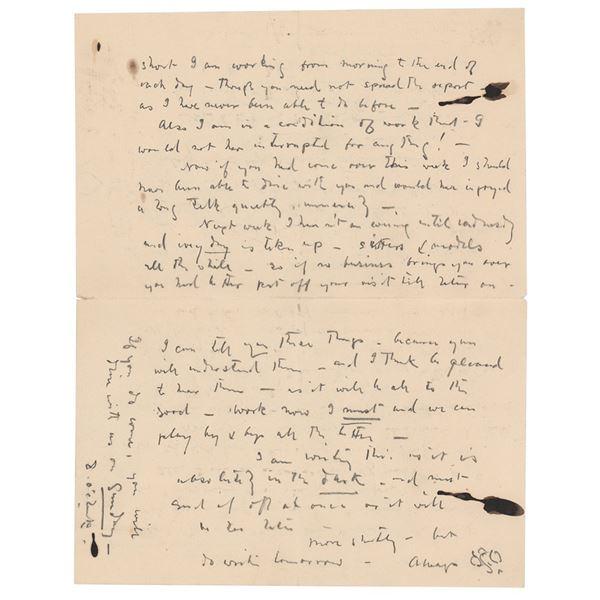James Abbott McNeill Whistler Autograph Letter Signed