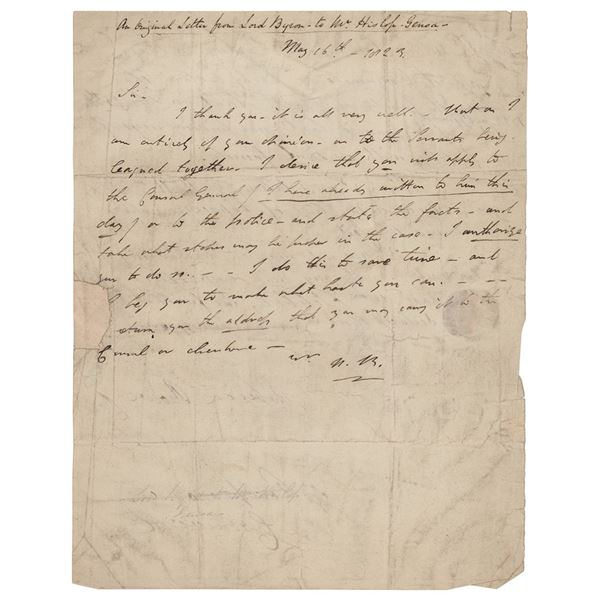 Lord Byron Autograph Letter Signed