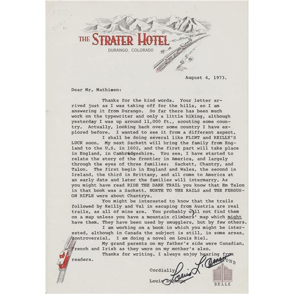 Louis L'Amour Typed Letter Signed