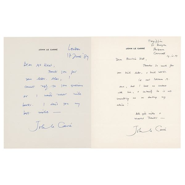 John le Carre (2) Autograph Letters Signed