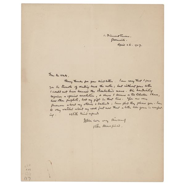 John Masefield Autograph Letter Signed