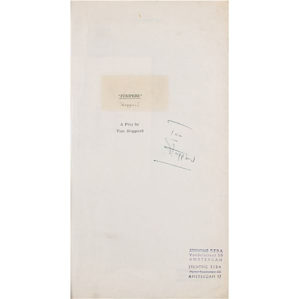Tom Stoppard Signed Playscript for 'Jumpers'
