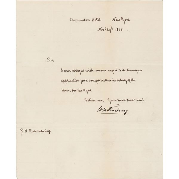 William Makepeace Thackeray Autograph Letter Signed