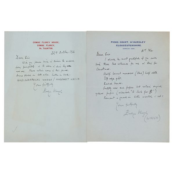 Evelyn Waugh (2) Autograph Letters Signed