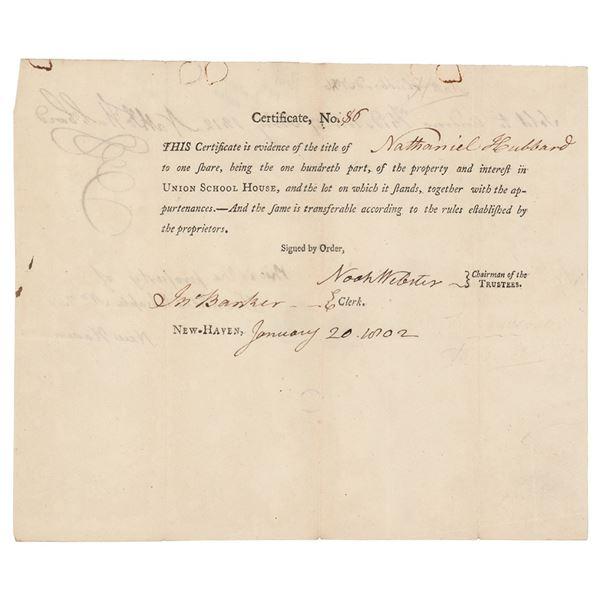 Noah Webster Document Signed