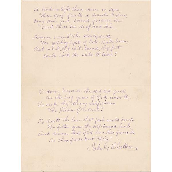 John Greenleaf Whittier Autograph Letter Signed with Handwritten Poem