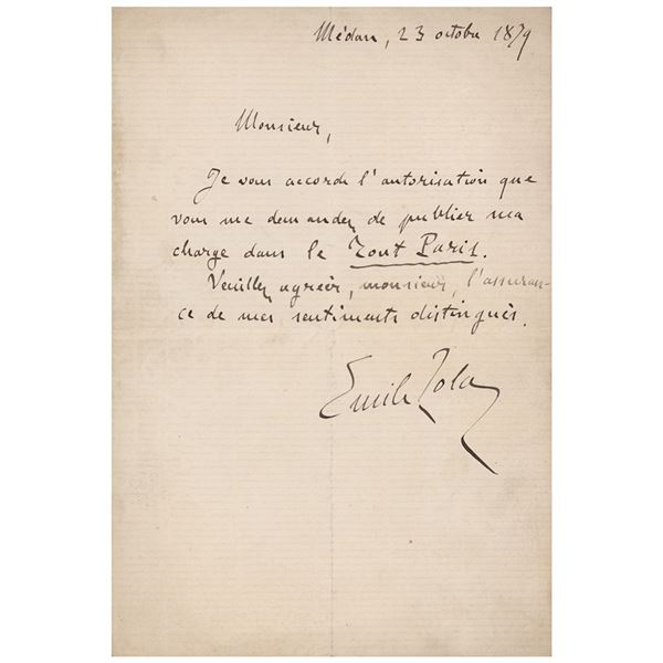 Emile Zola Autograph Letter Signed