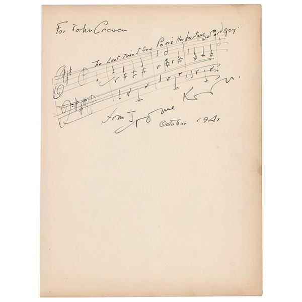 Jerome Kern Autograph Musical Quotation Signed