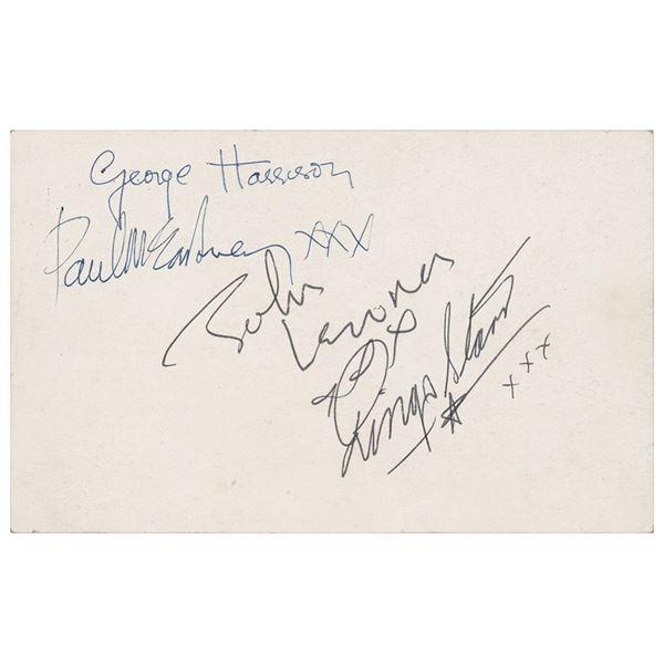 Beatles Signed Parlophone Promo Card