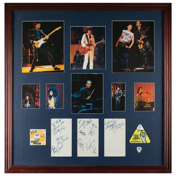 Rolling Stones Signatures and Guitar Pick Display