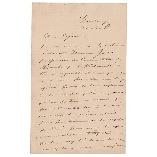 Pablo de Sarasate Autograph Letter Signed