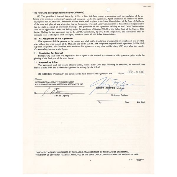 Harry Chapin Document Signed