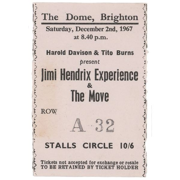 Jimi Hendrix Experience 1967 Brighton Dome Ticket