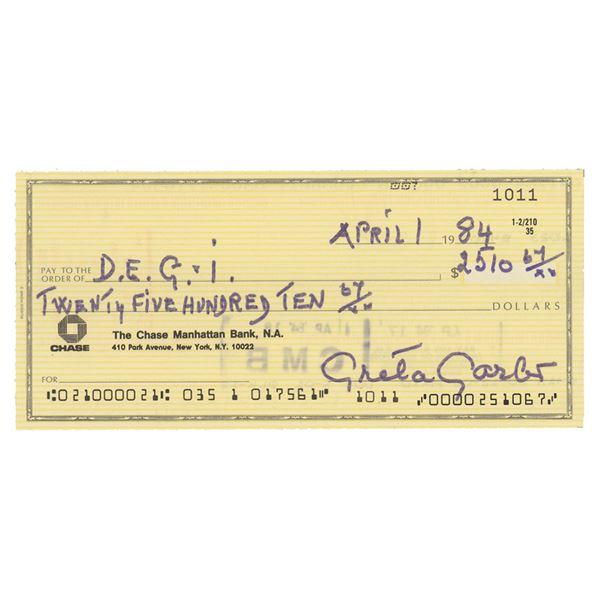 Greta Garbo Signed Check
