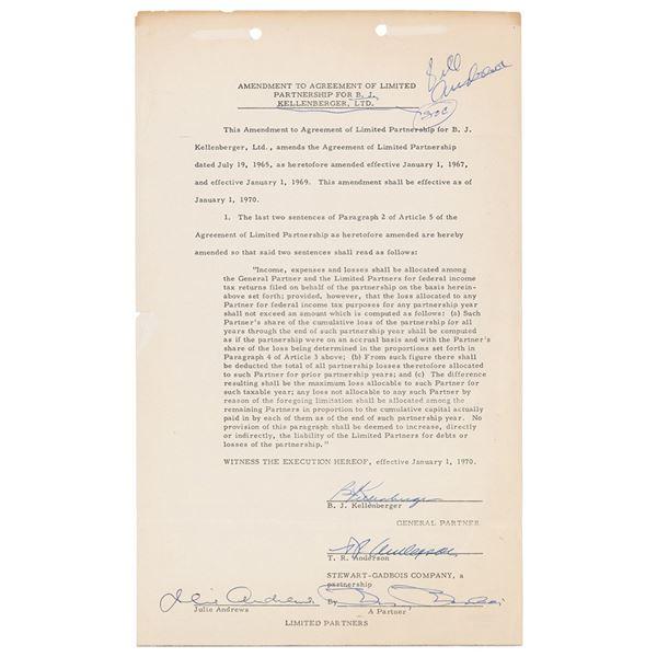 Julie Andrews Document Signed