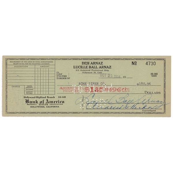 Lucille Ball Signed Check