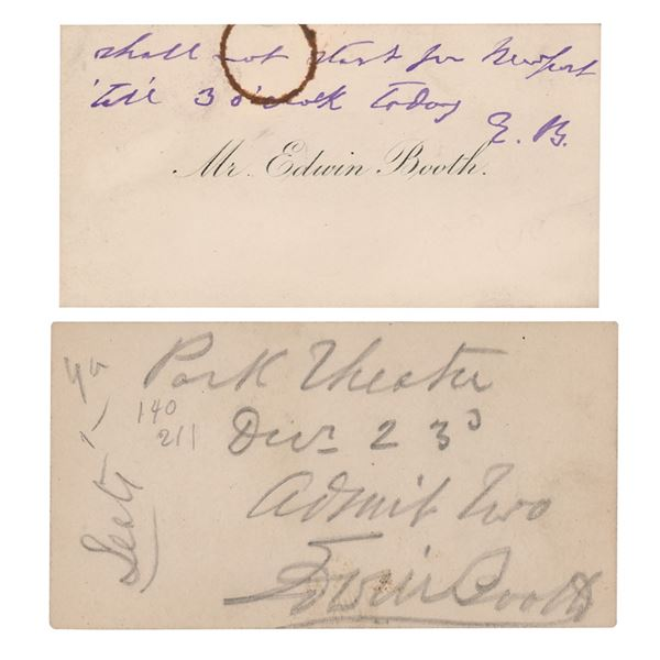 Edwin Booth (2) Signed Items