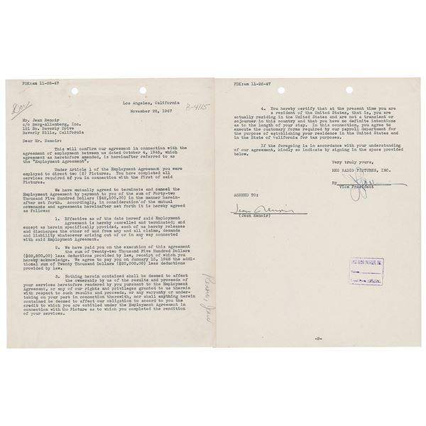 Jean Renoir Document Signed