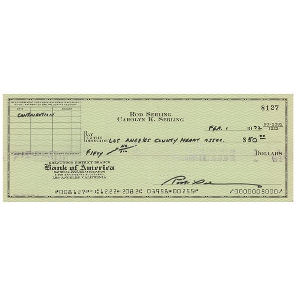 Rod Serling Signed Check
