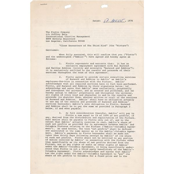 Steven Spielberg Document Signed