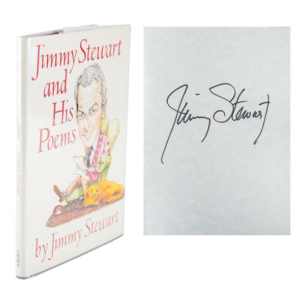 James Stewart Signed Book and (2) Signed Photographs