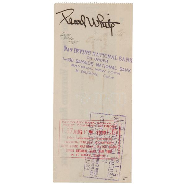 Pearl White Signed Check