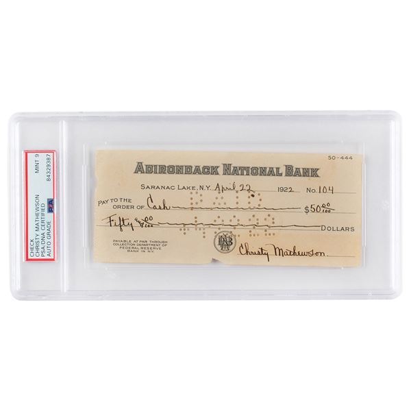 Christy Mathewson Signed Check - PSA/DNA MINT 9