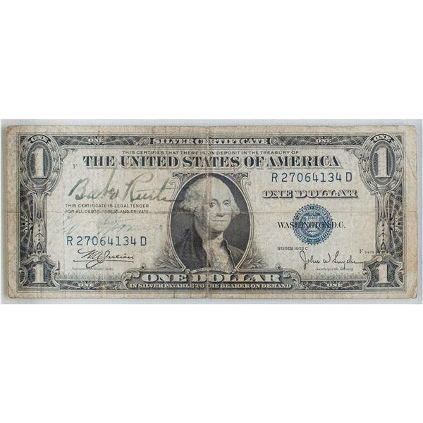 Babe Ruth Signed One Dollar Bill