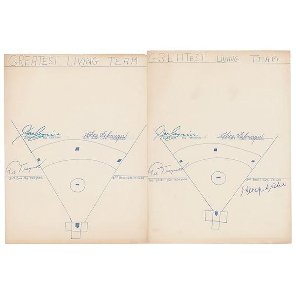 Baseball Infielders: Traynor, Cronin, Gehringer, and Sisler Signatures