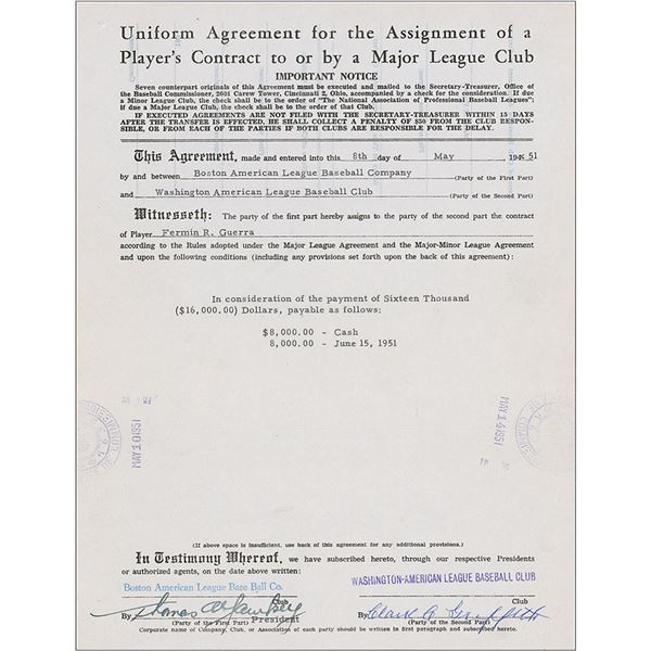 Boston Red Sox: Yawkey and Griffith Document Signed