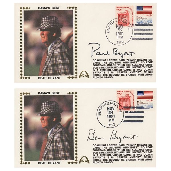 Paul 'Bear' Bryant (2) Signed Covers