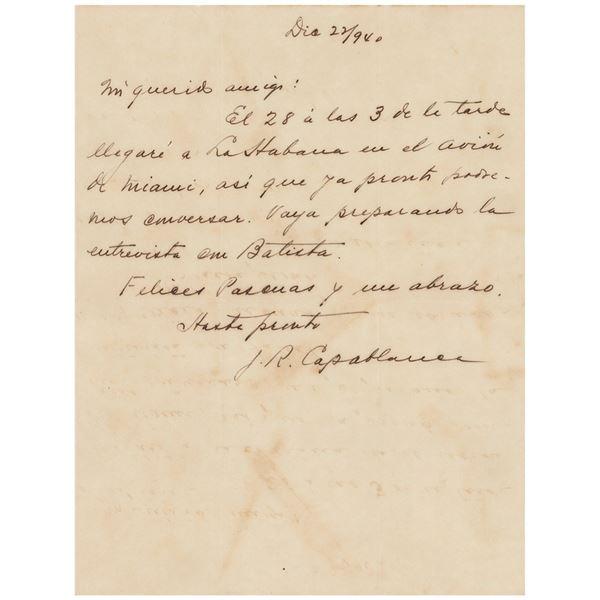 Jose Raul Capablanca Autograph Letter Signed