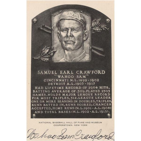 'Wahoo' Sam Crawford Signed Hall of Fame Card