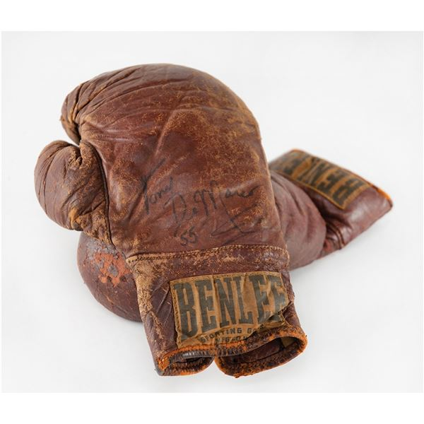 Tony DeMarco's Personally Owned and Worn Boxing Gloves with (4) Additional Signed Items