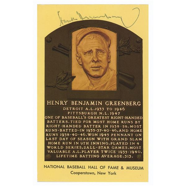 Hank Greenberg Signed Hall of Fame Postcard