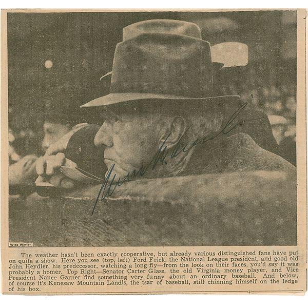 Kenesaw M. Landis Signed Newspaper Photograph