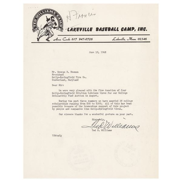 Ted Williams Typed Letter Signed