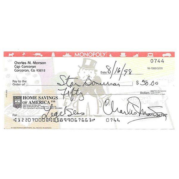 Rare Charles Manson Signed bank check