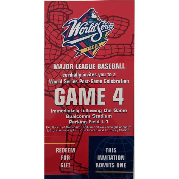 1998 World Series Yankees vs. Padres Game 4 Post-Game Celebration Ticket