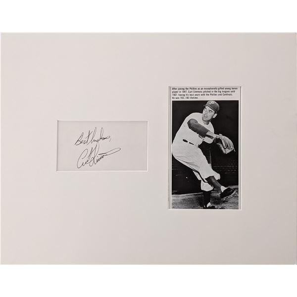 Curt Simmons original signature and photo display
