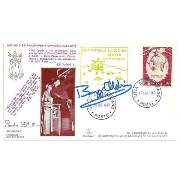 Cachets cancelled from the Vatican Post Office, July 20, 1960, signed by Buzz Aldrin