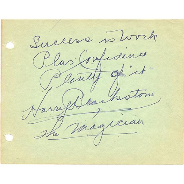 Magician Harry Blackstone signed album page