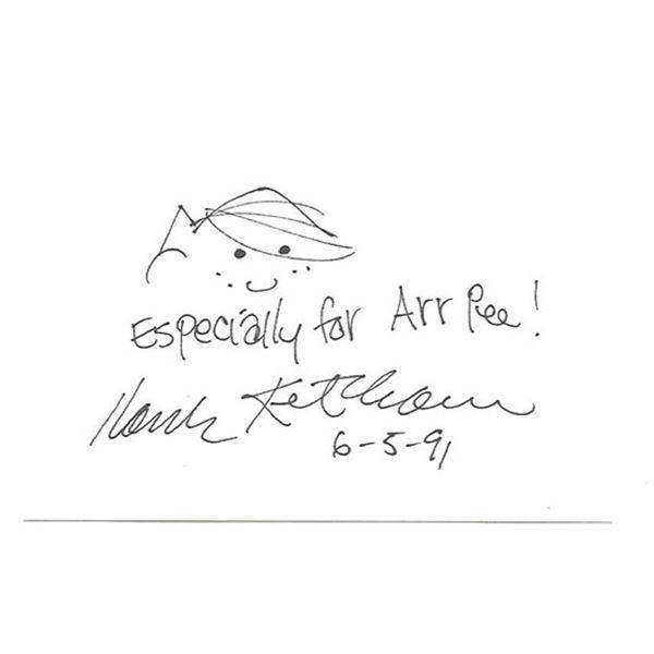 Hank Ketcham signed hand drawn sketch