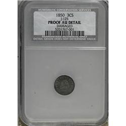 1850 P3CS Three Cent Silver, Judd-125 Original,